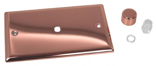 Varilight WYD1.CU Urban Polished Copper 1 Gang Dimmer Plate Only + Knobs (Twin Plate)